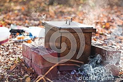 Homemade smokehouse
