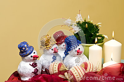 Homemade snowmen decorations