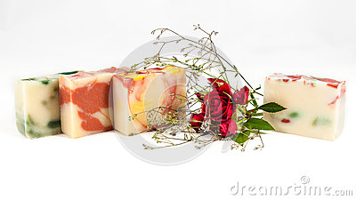 Homemade soaps and rose