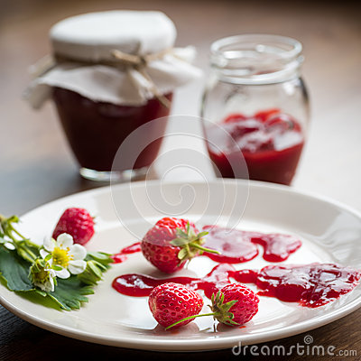 Free Homemade Strawberry Jam (marmelade) In Jars On Wooden Background. Stock Photo - 55676280