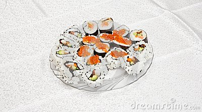 Homemade sushi with red caviar on