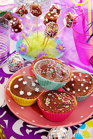 Free Homemade Sweets On Birthday Party Table For Child Royalty Free Stock Photography - 27538877