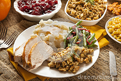 Homemade Turkey Thanksgiving Dinner Stock Photo