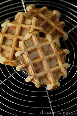 Waffles on wire grill