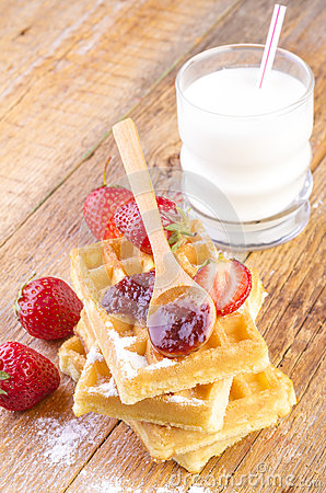 Free Homemade Waffles With Strawberry Jam Royalty Free Stock Photos - 55131628