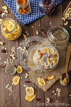 Free Homemade Yogurt With Granola, Dried Fruit And Nuts Bio Royalty Free Stock Images - 55749659