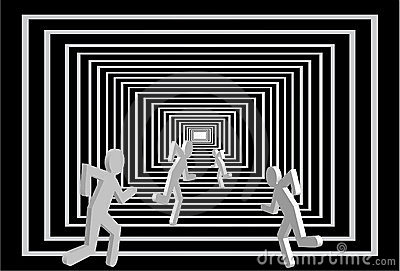Homens no túnel. Competição dos povos.