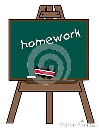 Homework on chalkboard