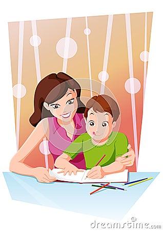 Homework with mom