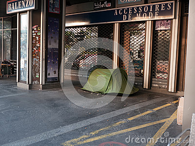 Homeless people camping in Paris Editorial Photo