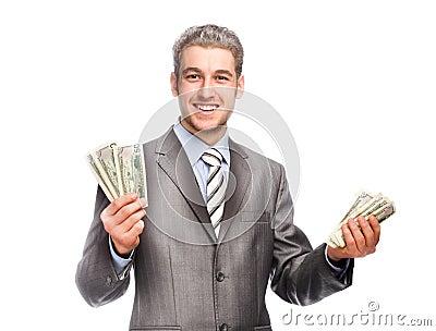homme aux cheveux gris chanceux avec l 39 argent photo stock image 48647337. Black Bedroom Furniture Sets. Home Design Ideas