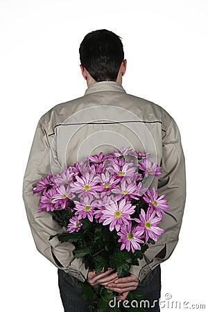 Homme avec des fleurs image stock image 2132291 for Bouquet de fleurs homme