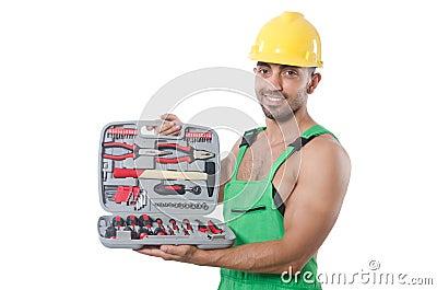 Homme avec la boîte à outils