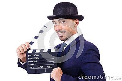 Homme avec le clapet de film
