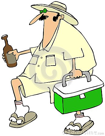Homme avec un refroidisseur de bière