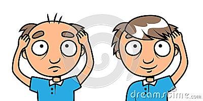 Homme chauve - demande de règlement de perte de cheveu