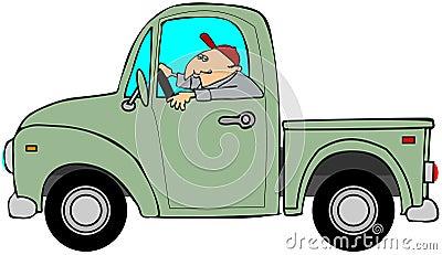 Homme conduisant un vieux camion vert