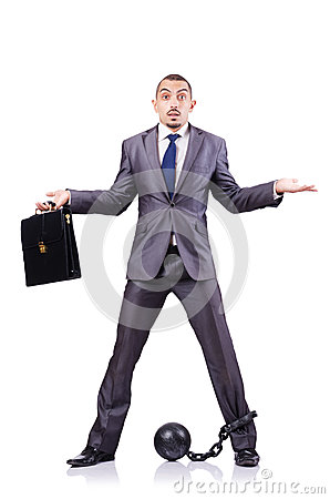 Homme d affaires avec des dispositifs d accrochage