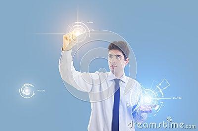 Homme d affaires avec la surface adjacente virtuelle