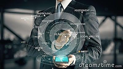 Homme d'affaires avec le concept d'hologramme de capital humain