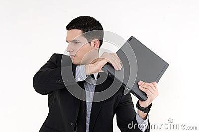 Homme d affaires avec le premier ordinateur de genoux