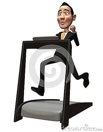 Homme d affaires sur un tapis roulant