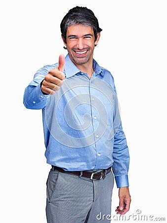 Homme d affaires te donnant une réussite positive SI