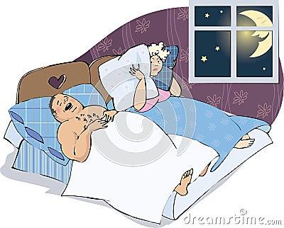 Homme de ronflement avec l épouse