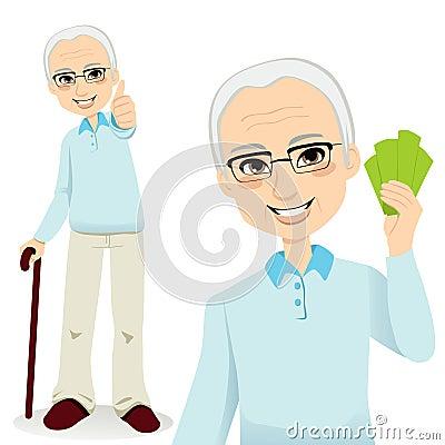 Homme aîné heureux