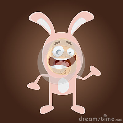 Homme heureux de bande dessinée dans le costume de lapin