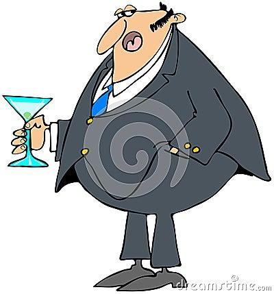 Homme retenant un cocktail