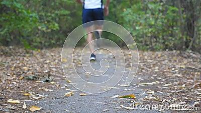 Homme sportif sprintant rapidement le long de la traînée au sportif fort de forêt tôt d'automne courant le long du chemin à la na banque de vidéos