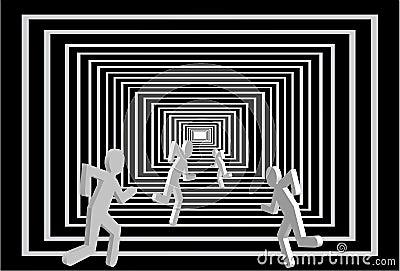 Hommes dans le tunnel. Concurrence de gens.