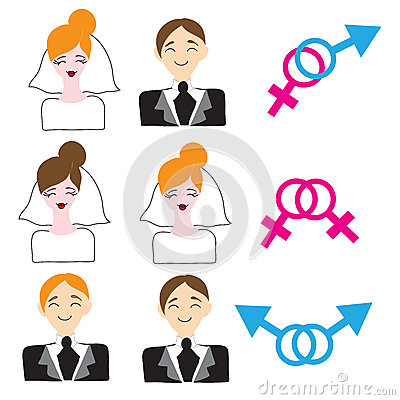 homosexual and heterosexual wedding icons stock vector