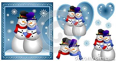 Homosexual Snowman Couple Card
