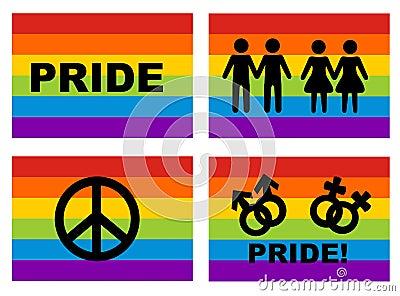 Homosexuelle Markierungsfahne und Ikonen