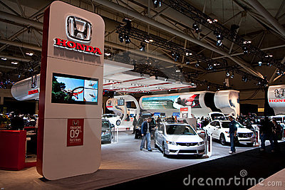 Honda booth at the auto show Editorial Stock Image