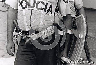 Honduran policeman in riot gear