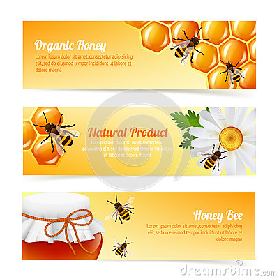 Free Honey Bee Banners Stock Photography - 40244872