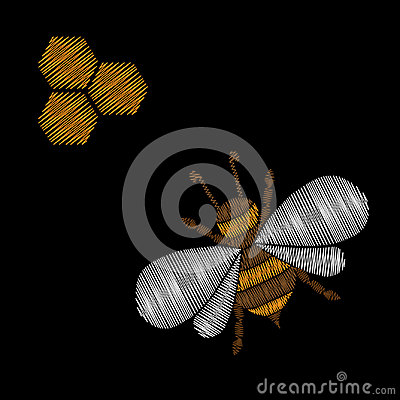 Honey bee embroidery stitches imitation Vector Illustration