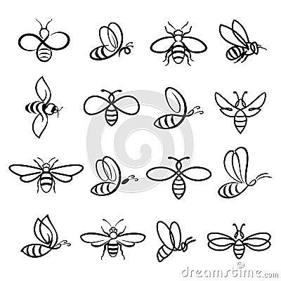 Free Honey Bee Icons Stock Photo - 103612340