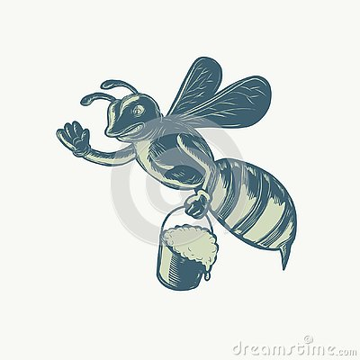 Free Honey Bee Waving With Pail Of Honey Scratchboard Royalty Free Stock Images - 129352749