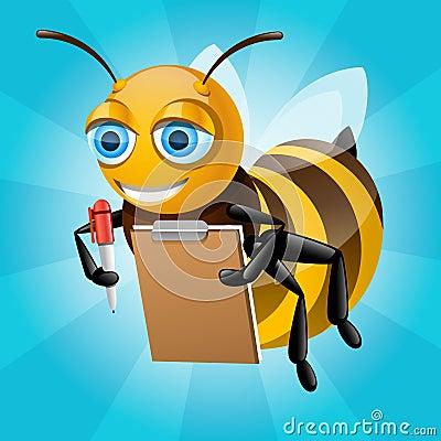 Honey bee writes on paper