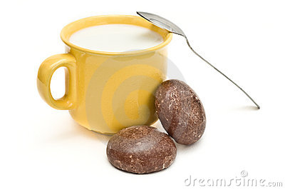 Honey biscuits and mug with spoon