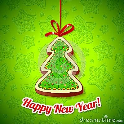 Honey cake Christmas tree on green background