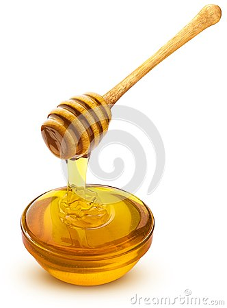 Free Honey Dipper And Bowl Of Pouring Honey Isolated On White Background Stock Photo - 109114460