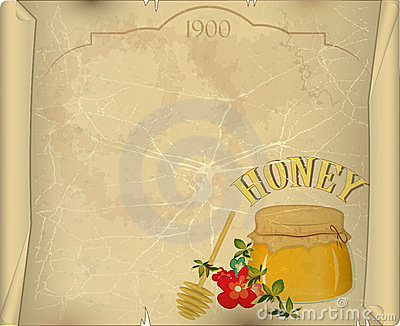 Honey and flowers on old paper