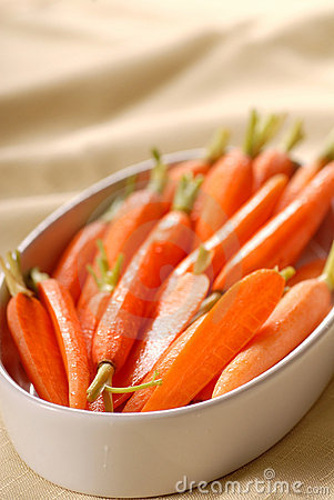 Honey glazed carrots in a serving dish