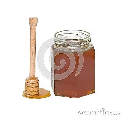 Honey and honey dipper (honey stick)
