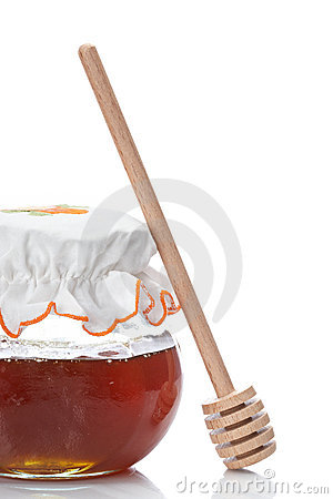 Free Honey Jar And Wooden Drizzler Royalty Free Stock Photography - 9721057